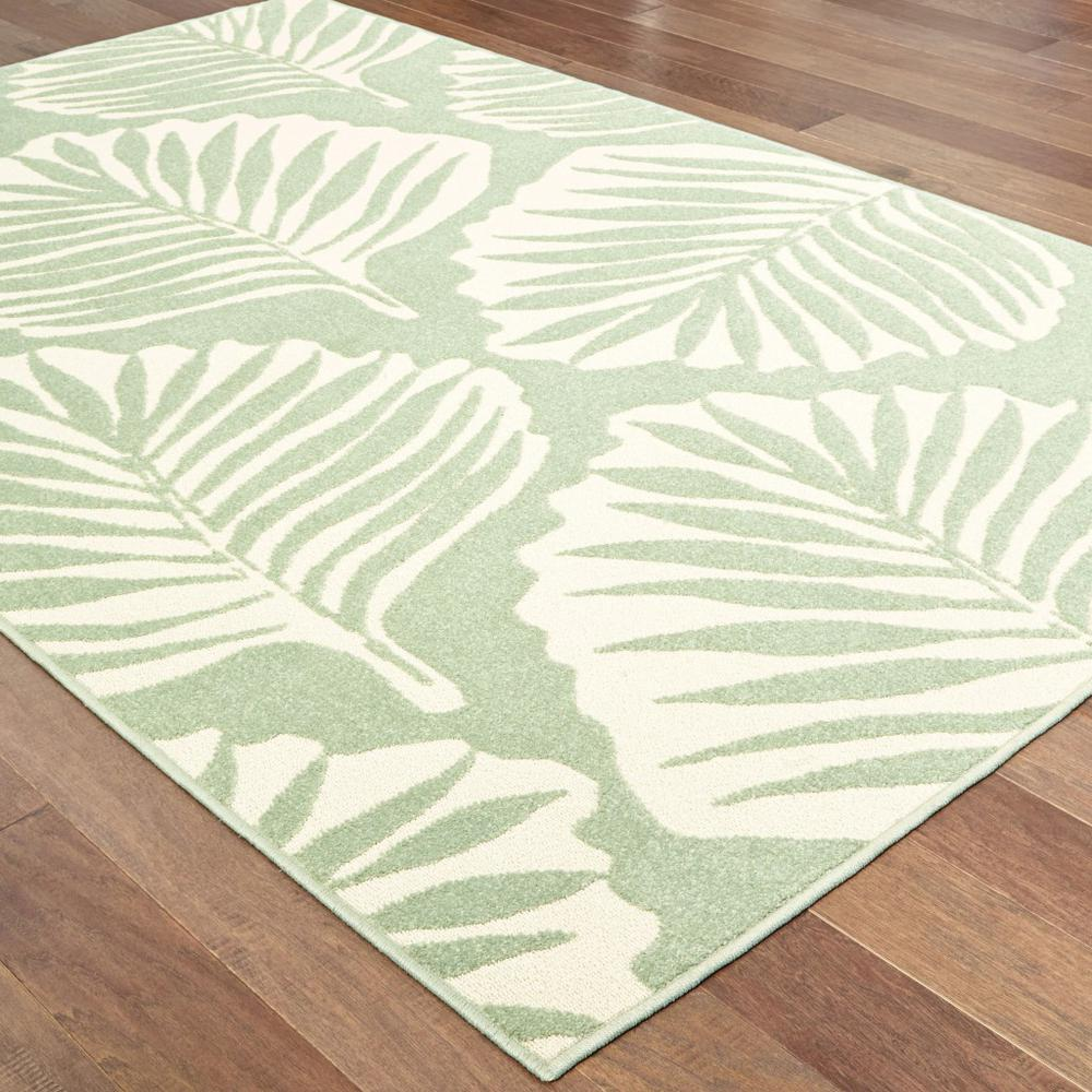 7' x 10' Tropical Light Green Ivory Palms Indoor Outdoor Rug - 384229. Picture 3