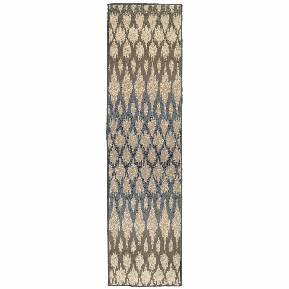 7' Ivory Gray Light to Dark Geometric Indoor Runner Area Rug - 384249. Picture 1