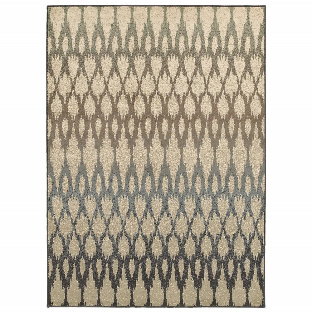 7' x 10' Ivory Gray Light to Dark Geometric Indoor Area Rug - 384253. Picture 1