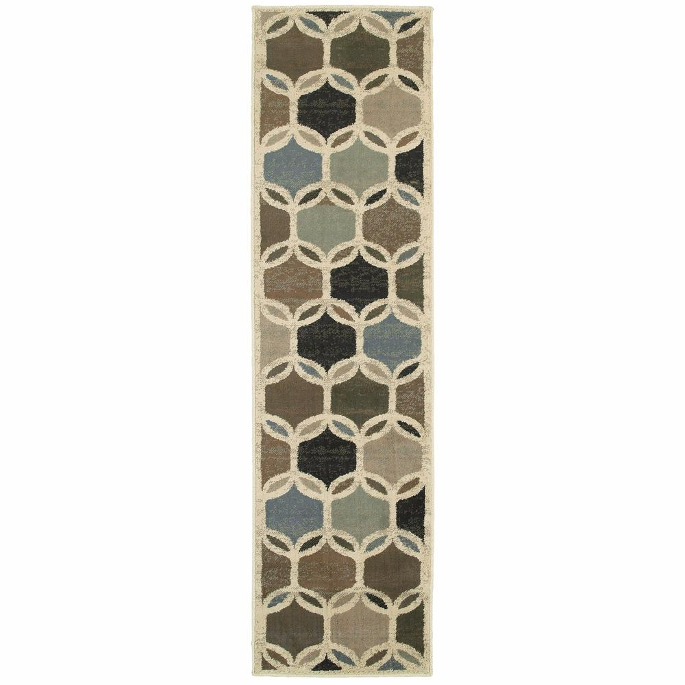 7' Ivory Gray Woven Geometric Circles Indoor Runner Rug - 384255. Picture 1