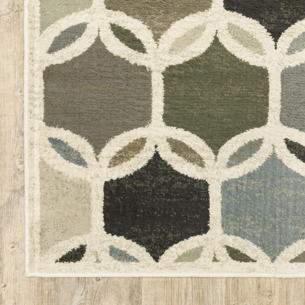 7' Ivory Gray Woven Geometric Circles Indoor Runner Rug - 384255. Picture 2
