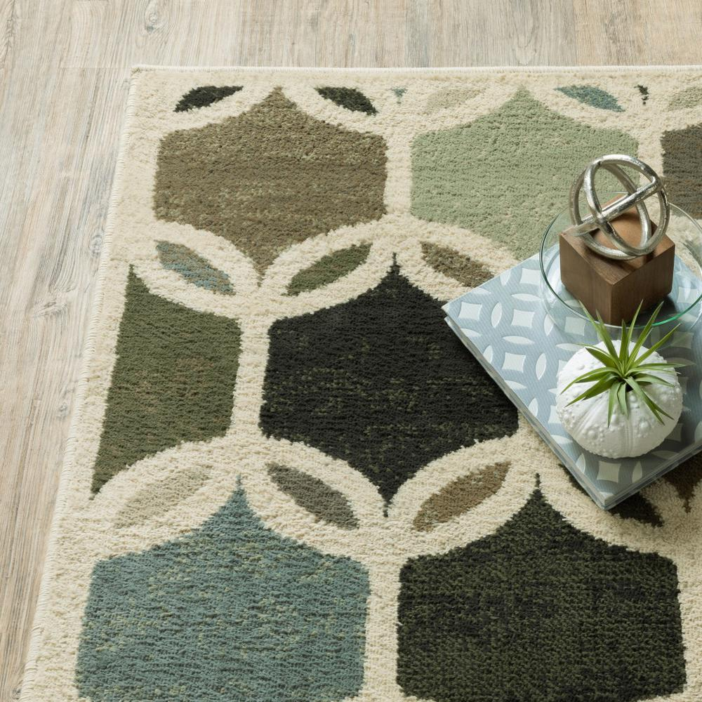 7' Ivory Gray Woven Geometric Circles Indoor Runner Rug - 384255. Picture 3
