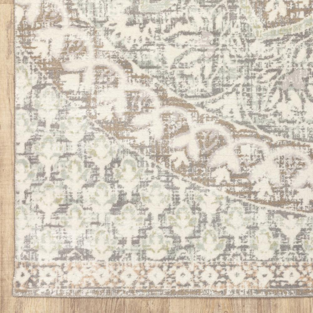 5' x 8' Ivory Grey Distresed Oversize Medallion Indoor Area Rug - 384269. Picture 3