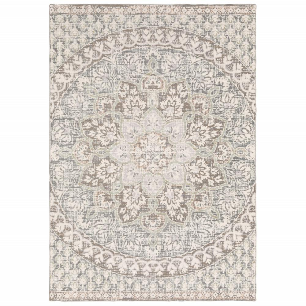 9' x 12' Ivory Grey Distresed Oversize Medallion Indoor Area Rug - 384272. Picture 1