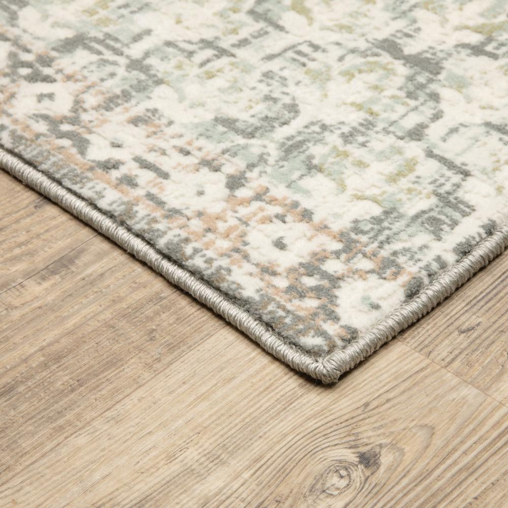 9' x 12' Ivory Grey Distresed Oversize Medallion Indoor Area Rug - 384272. Picture 2