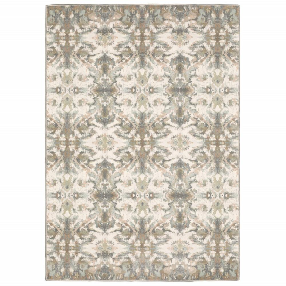 7' x 10' Ivory Gray Abstract Ikat Indoor Area Rug - 384283. Picture 1