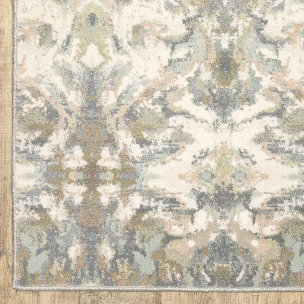 7' x 10' Ivory Gray Abstract Ikat Indoor Area Rug - 384283. Picture 3