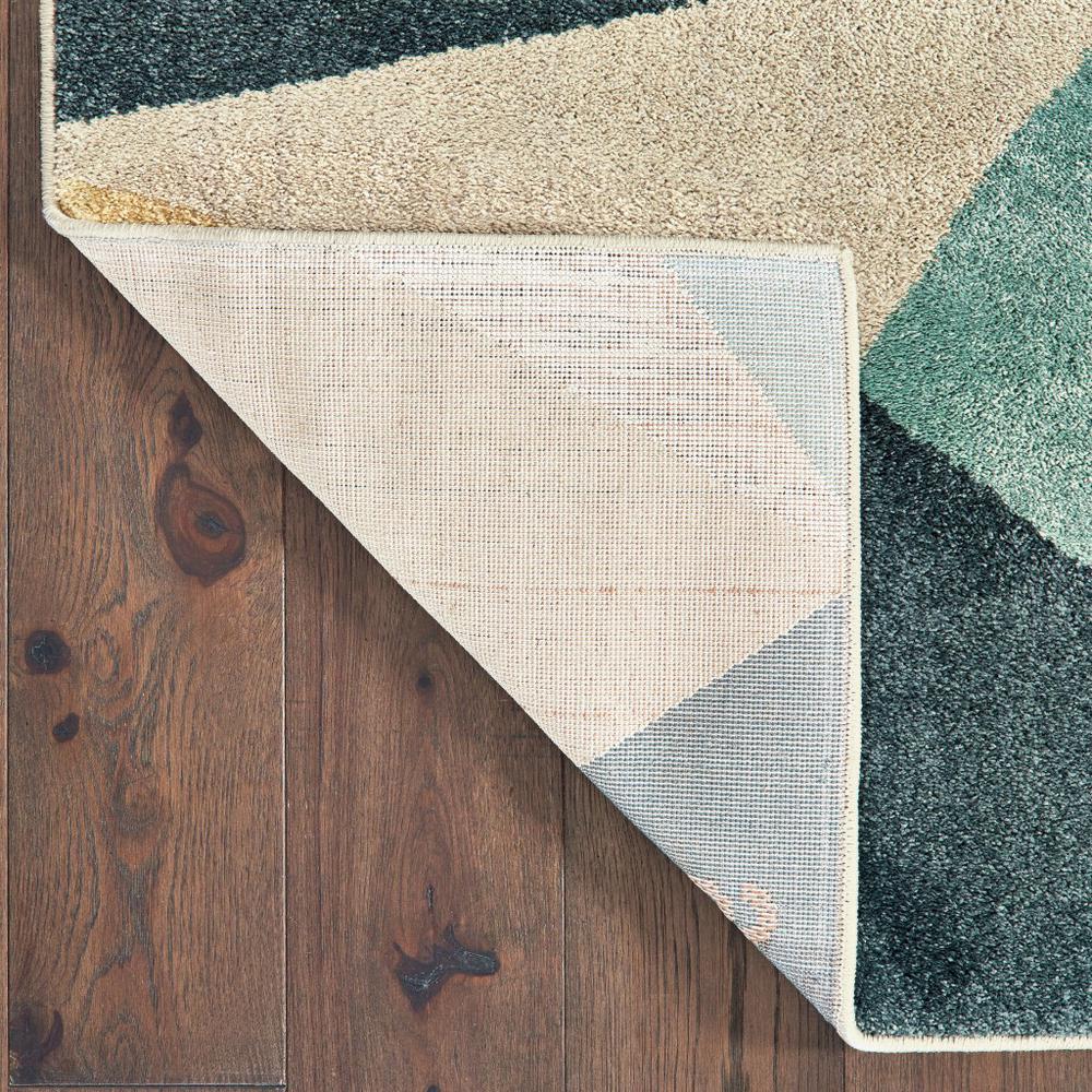 2' x 3' Blue Green Beige Retro Wedge Indoor Area Rug - 384285. Picture 3