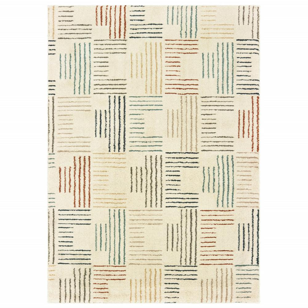 5' x 7' Ivory Multi Neutral Tone Scratch Indoor Area Rug - 384295. Picture 1