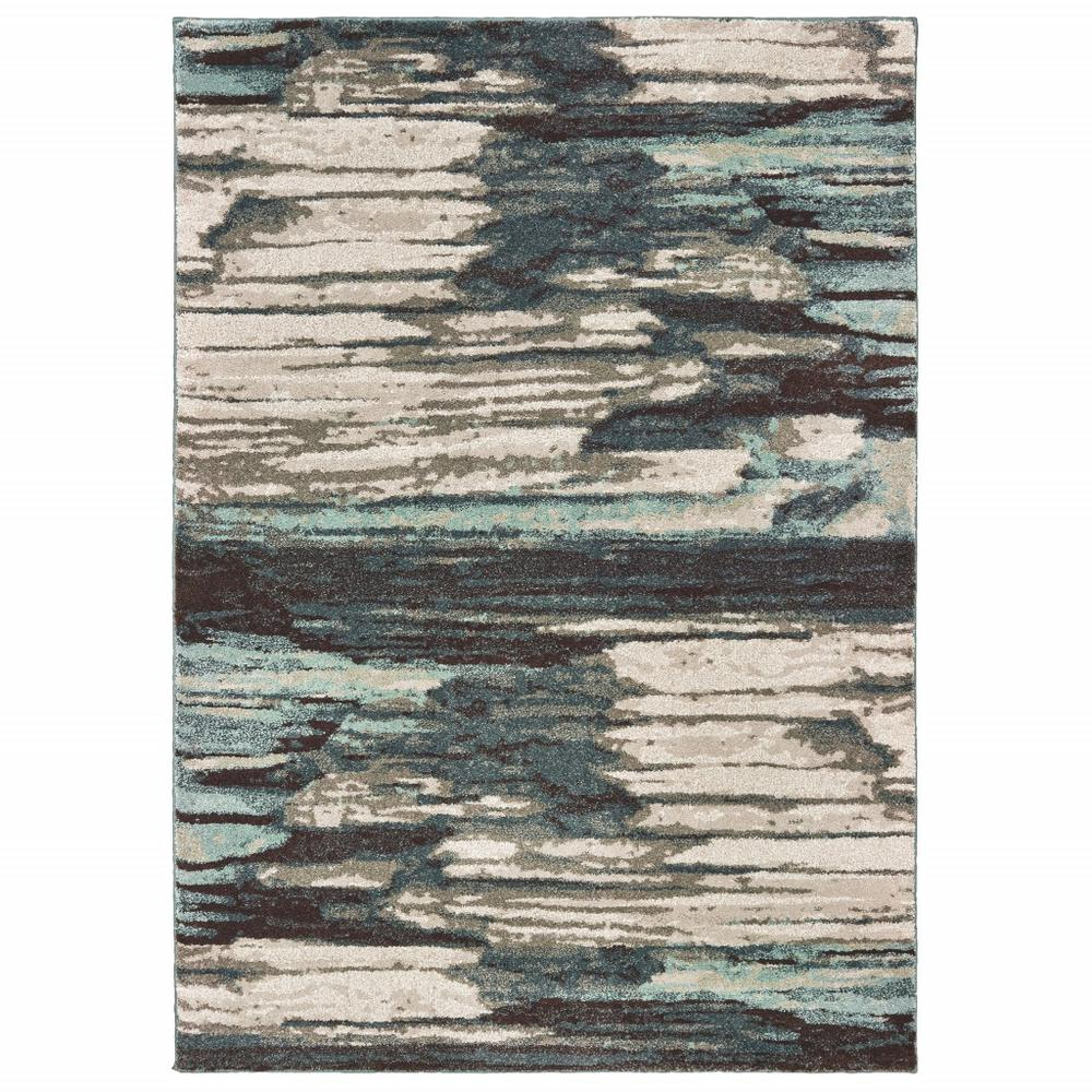 5' x 7' Ivory Blue Gray Abstract Layers Indoor Area Rug - 384302. Picture 1