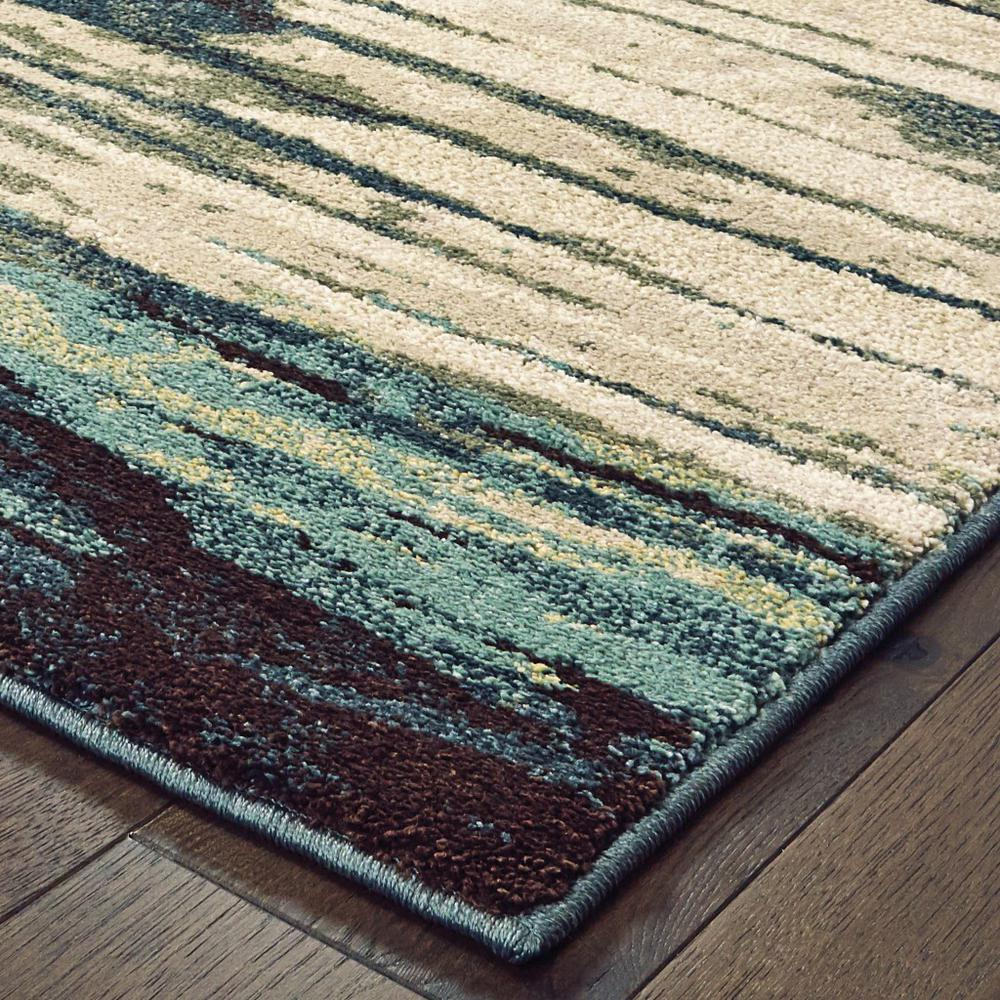 7' x 10' Ivory Blue Gray Abstract Layers Indoor Area Rug - 384304. Picture 2