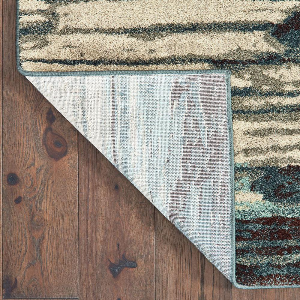 7' x 10' Ivory Blue Gray Abstract Layers Indoor Area Rug - 384304. Picture 3