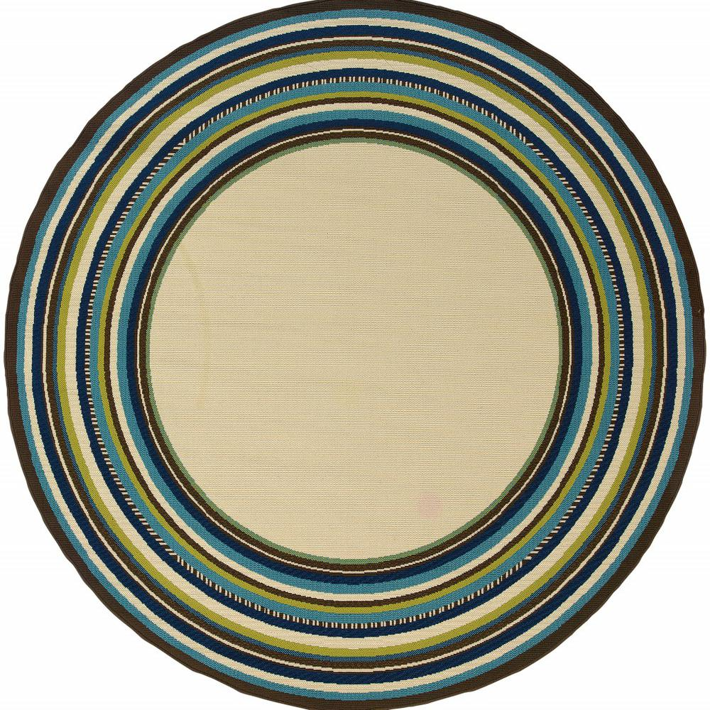 7' Round Ivory Mediterranean Blue and Lime Border Indoor Outdoor Area Rug - 384312. Picture 1