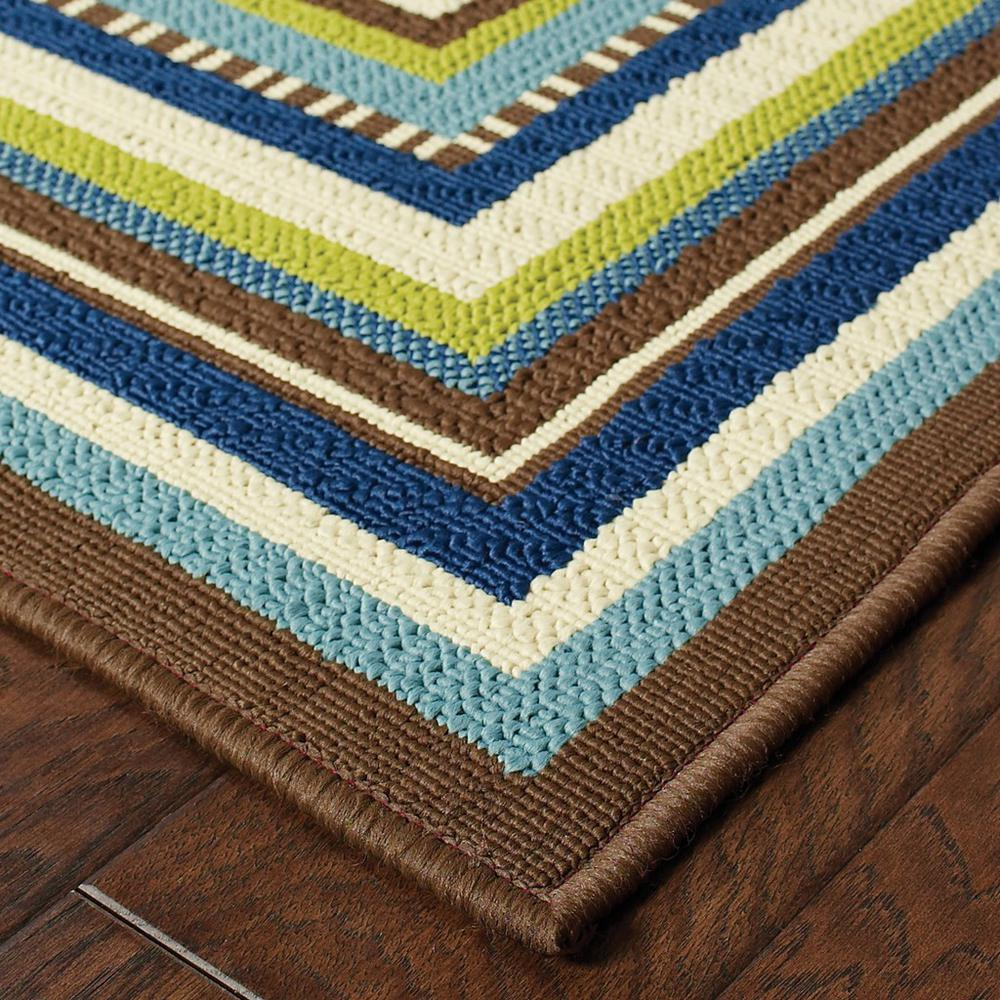 7' Round Ivory Mediterranean Blue and Lime Border Indoor Outdoor Area Rug - 384312. Picture 2
