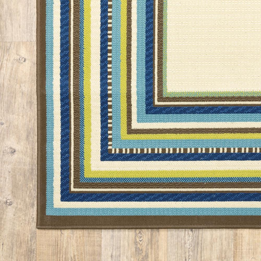 7' Round Ivory Mediterranean Blue and Lime Border Indoor Outdoor Area Rug - 384312. Picture 3