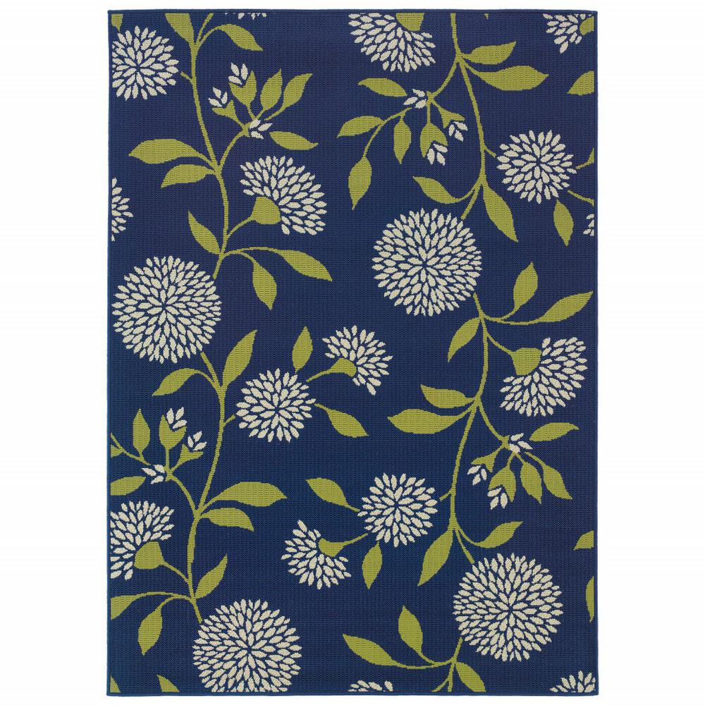 4' x 6' Indigo and Lime Green Floral Indoor or Outdoor Area Rug - 384316. Picture 1