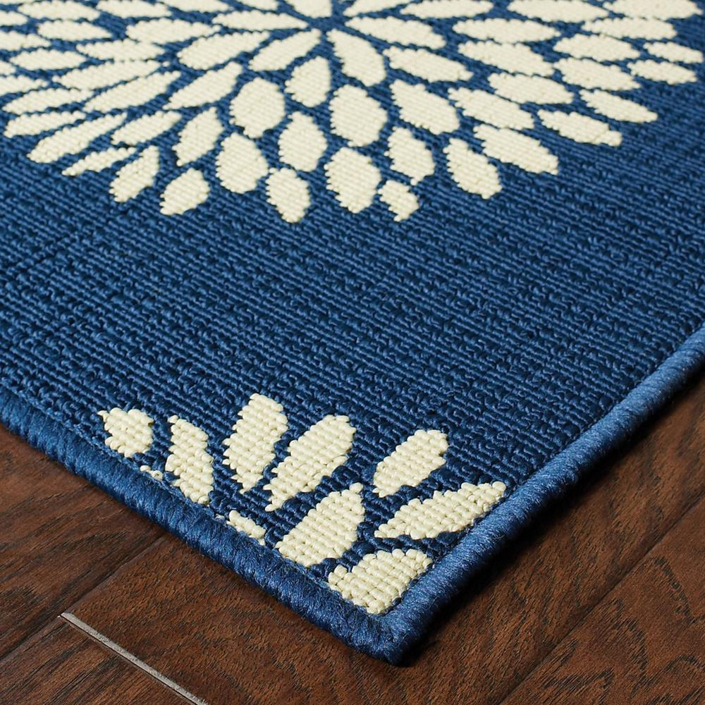 4' x 6' Indigo and Lime Green Floral Indoor or Outdoor Area Rug - 384316. Picture 2