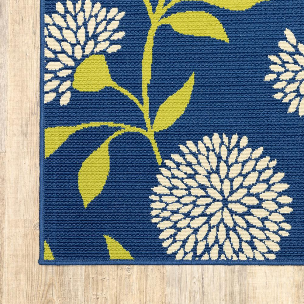 5' x 8' Indigo and Lime Green Floral Indoor or Outdoor Area Rug - 384317. Picture 3