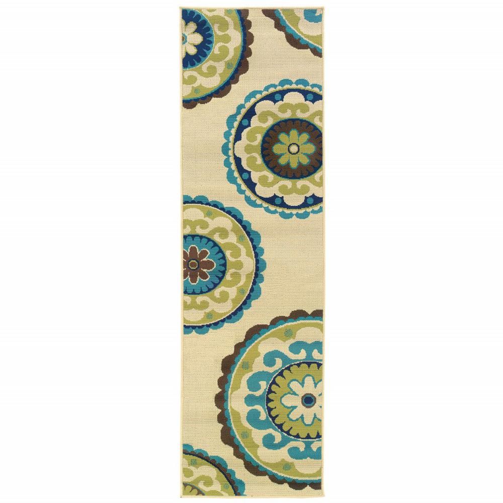 8' Ivory Indigo and Lime Medallion Disc Indoor Outdoor Runner Rug - 384322. Picture 1