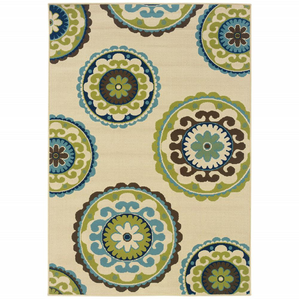 5' x 8' Ivory Indigo and Lime Medallion Disc Indoor Outdoor Area Rug - 384325. Picture 1