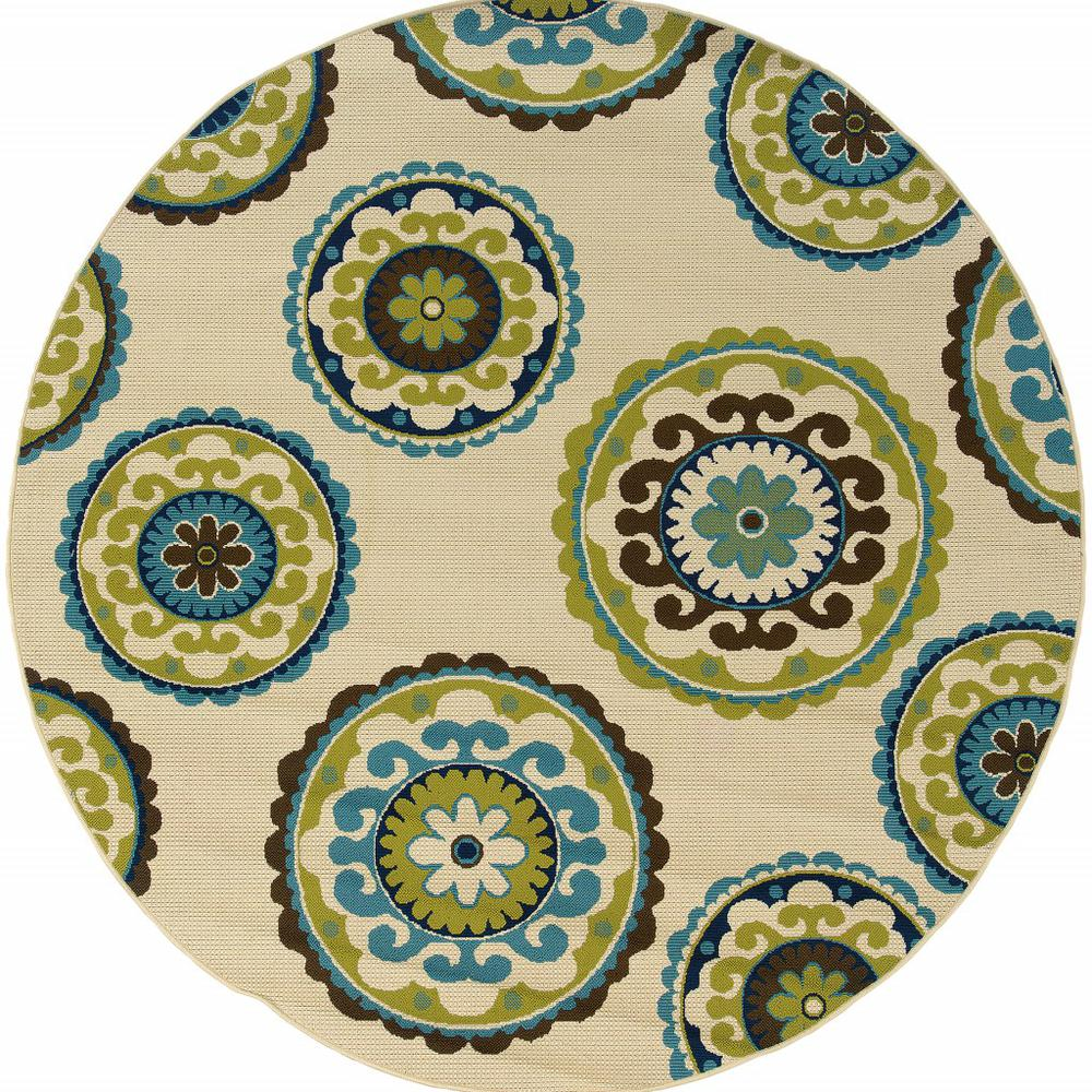 7' Ivory Indigo and Lime Medallion Disc Indoor Outdoor Area Rug - 384328. Picture 1