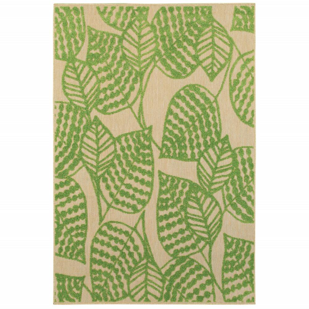 9' x 12' Sand and Lime Green Leaves Indoor Outdoor Area Rug - 384347. Picture 1