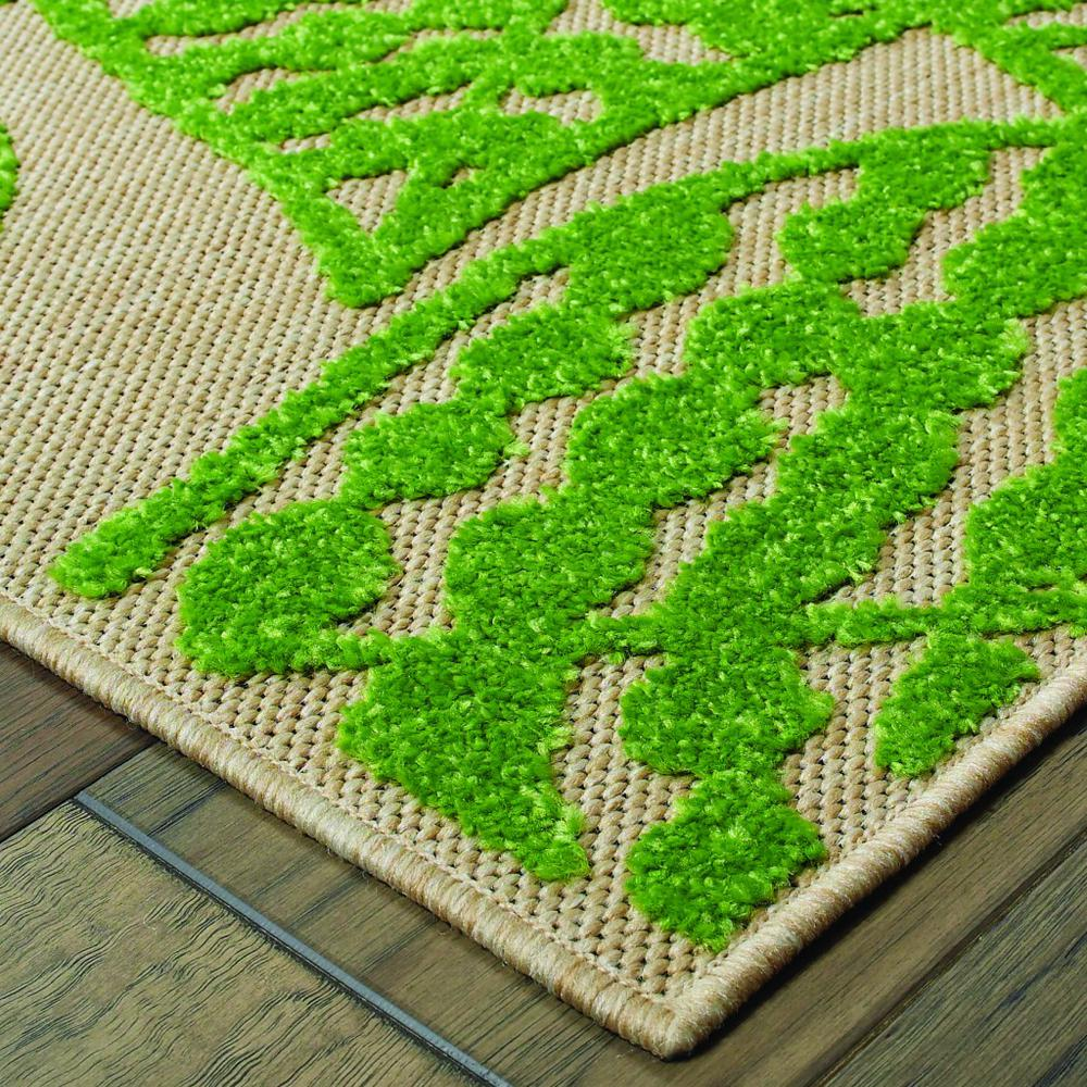 9' x 12' Sand and Lime Green Leaves Indoor Outdoor Area Rug - 384347. Picture 2