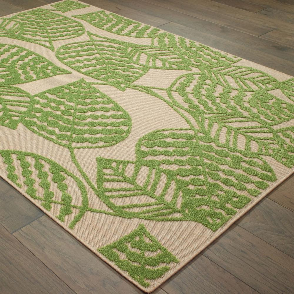9' x 12' Sand and Lime Green Leaves Indoor Outdoor Area Rug - 384347. Picture 3