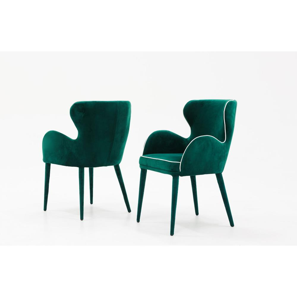 Modern Green Velvet with White Dining or Side Chair - 384359. Picture 1