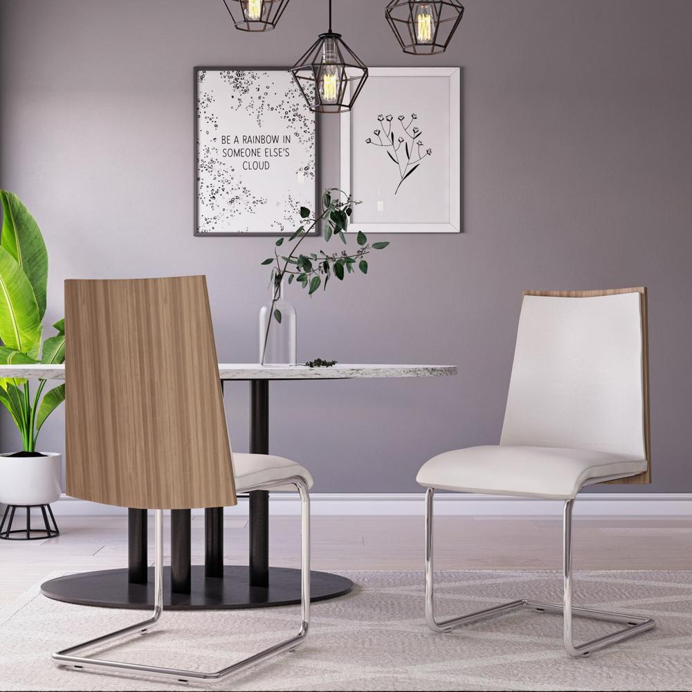 Set of 2 Modern White Faux Leather and Walnut Finish Dining Chairs - 384362. Picture 1