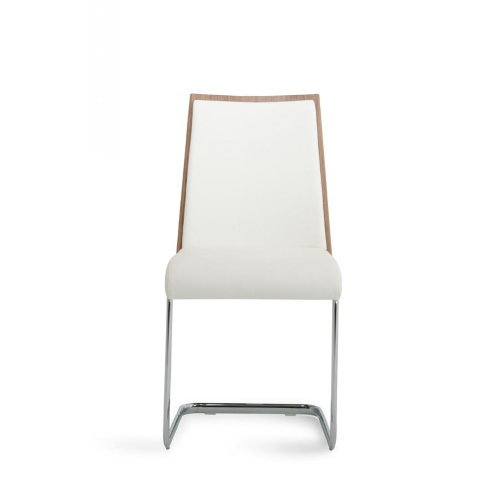 Set of 2 Modern White Faux Leather and Walnut Finish Dining Chairs - 384362. Picture 3