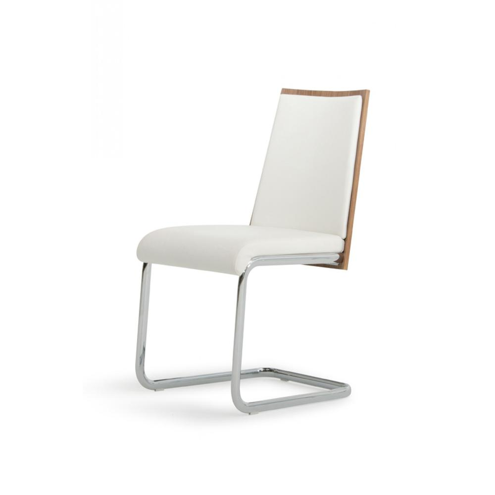Set of 2 Modern White Faux Leather and Walnut Finish Dining Chairs - 384362. Picture 4