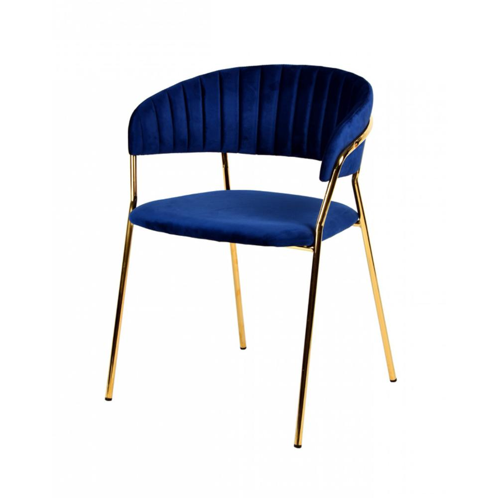 Set of 2 Curved Chic Blue and Gold Velour Dining Chairs - 384373. Picture 1