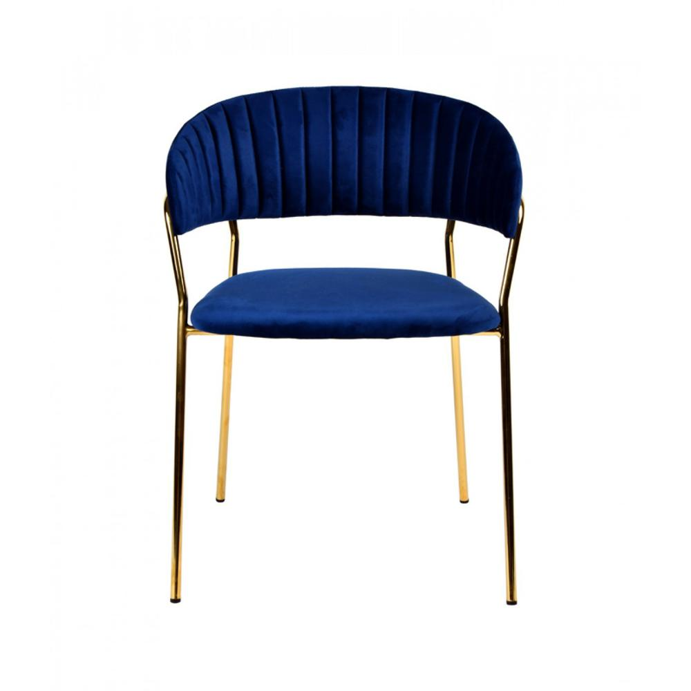 Set of 2 Curved Chic Blue and Gold Velour Dining Chairs - 384373. Picture 2
