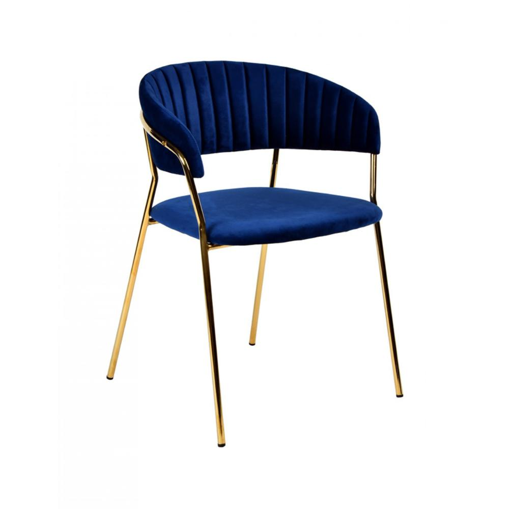 Set of 2 Curved Chic Blue and Gold Velour Dining Chairs - 384373. Picture 3