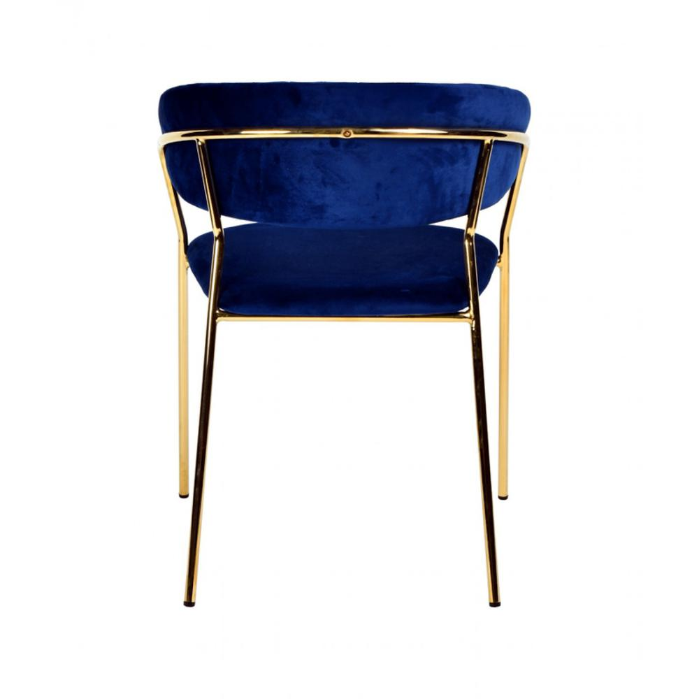 Set of 2 Curved Chic Blue and Gold Velour Dining Chairs - 384373. Picture 4