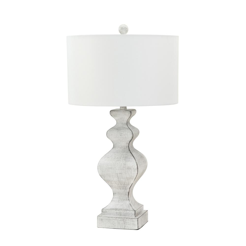 Set of 2 Farmhouse Glam White Distressed Table Lamp - 384397. Picture 1