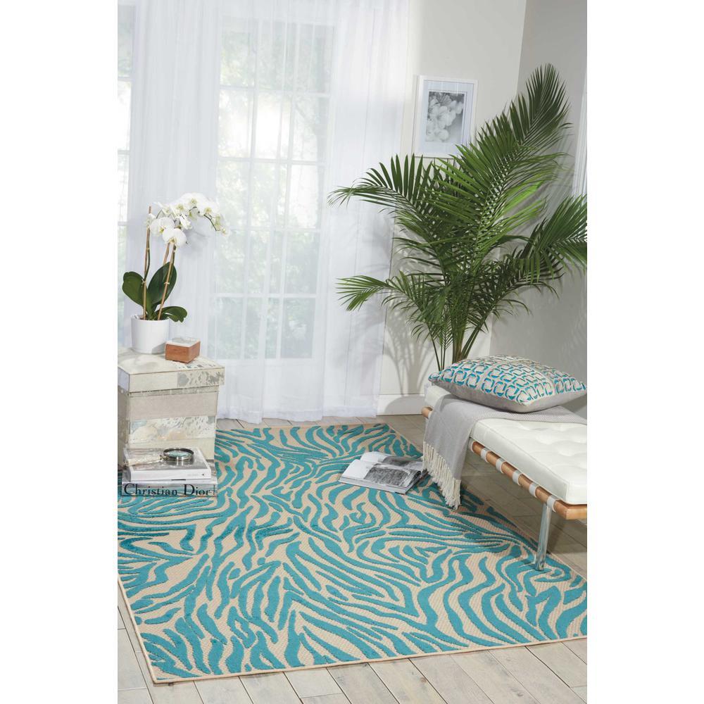 5' x 7' Aqua Abstract Indoor Outdoor Area Rug - 384404. Picture 2
