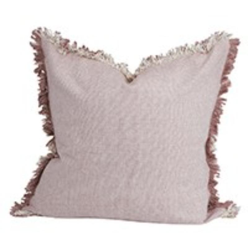 Set of 2 Light Pink Solid Decorative Pillows with Fringe - 384409. Picture 1