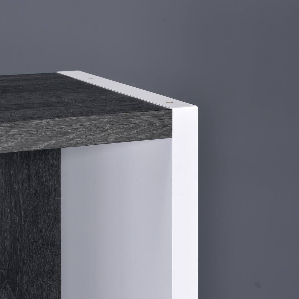 Versatile Six Shelf White and Gray Cubby Bookshelf - 384451. Picture 1