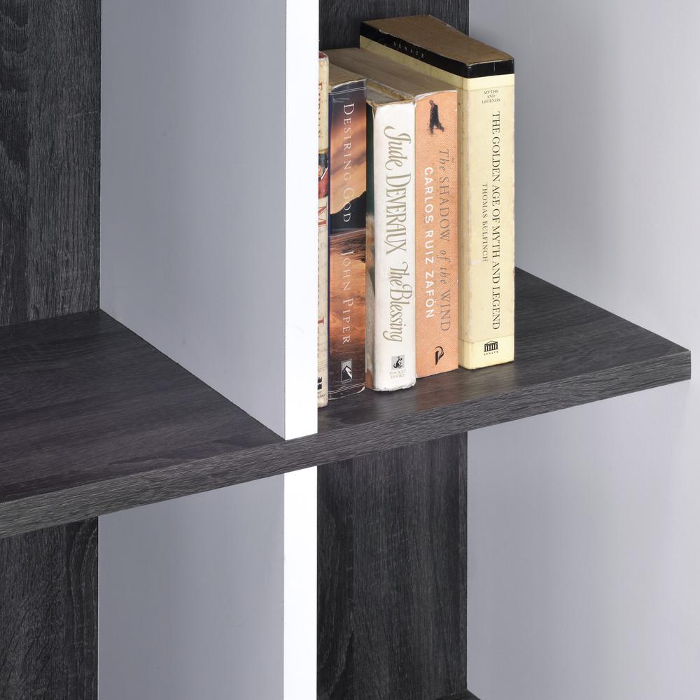 Versatile Six Shelf White and Gray Cubby Bookshelf - 384451. Picture 2