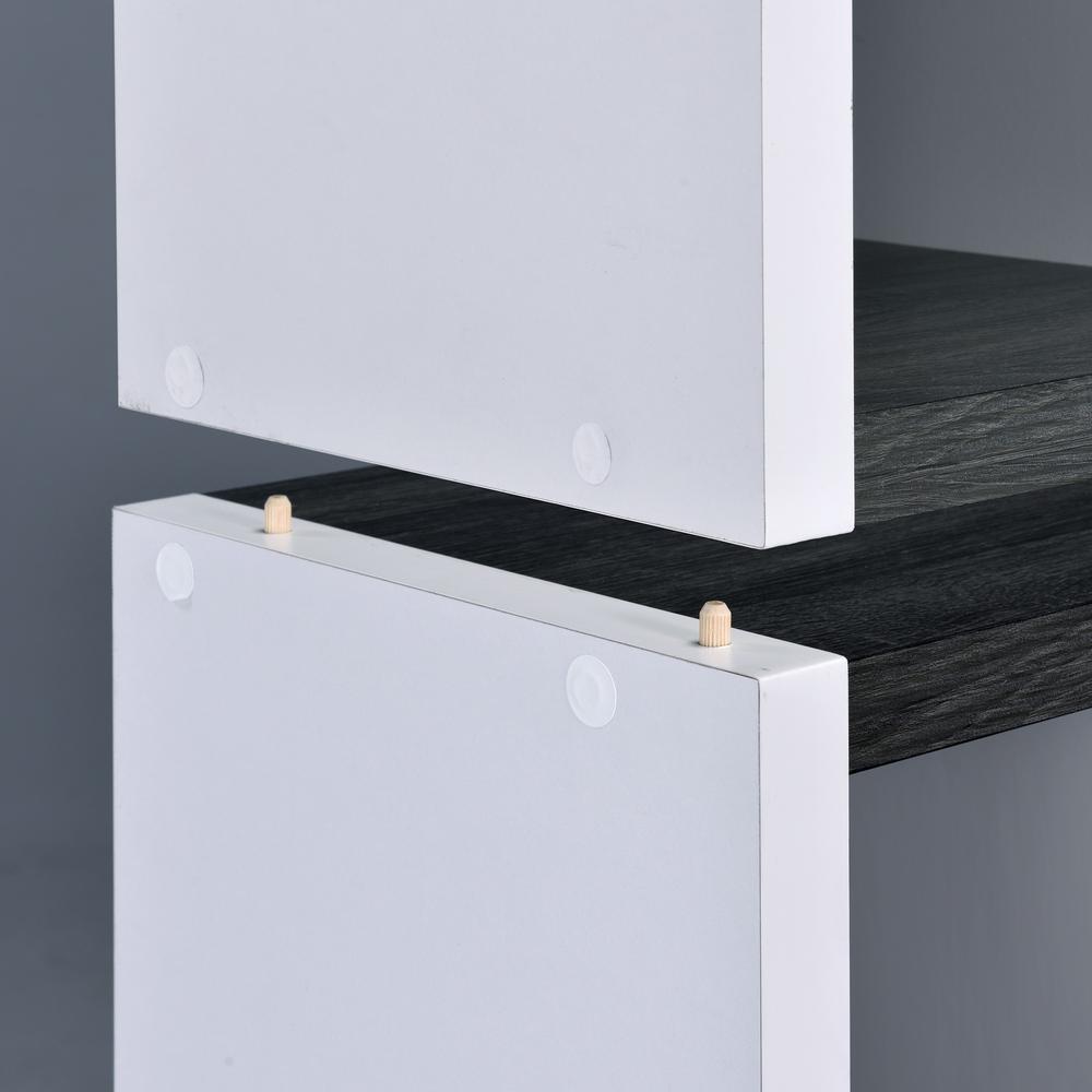 Versatile Six Shelf White and Gray Cubby Bookshelf - 384451. Picture 3