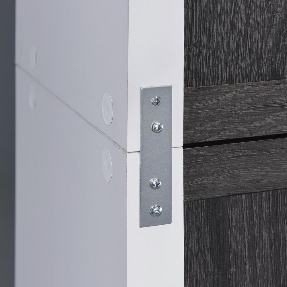 Versatile Six Shelf White and Gray Cubby Bookshelf - 384451. Picture 4