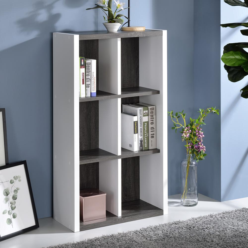 Versatile Six Shelf White and Gray Cubby Bookshelf - 384451. Picture 7