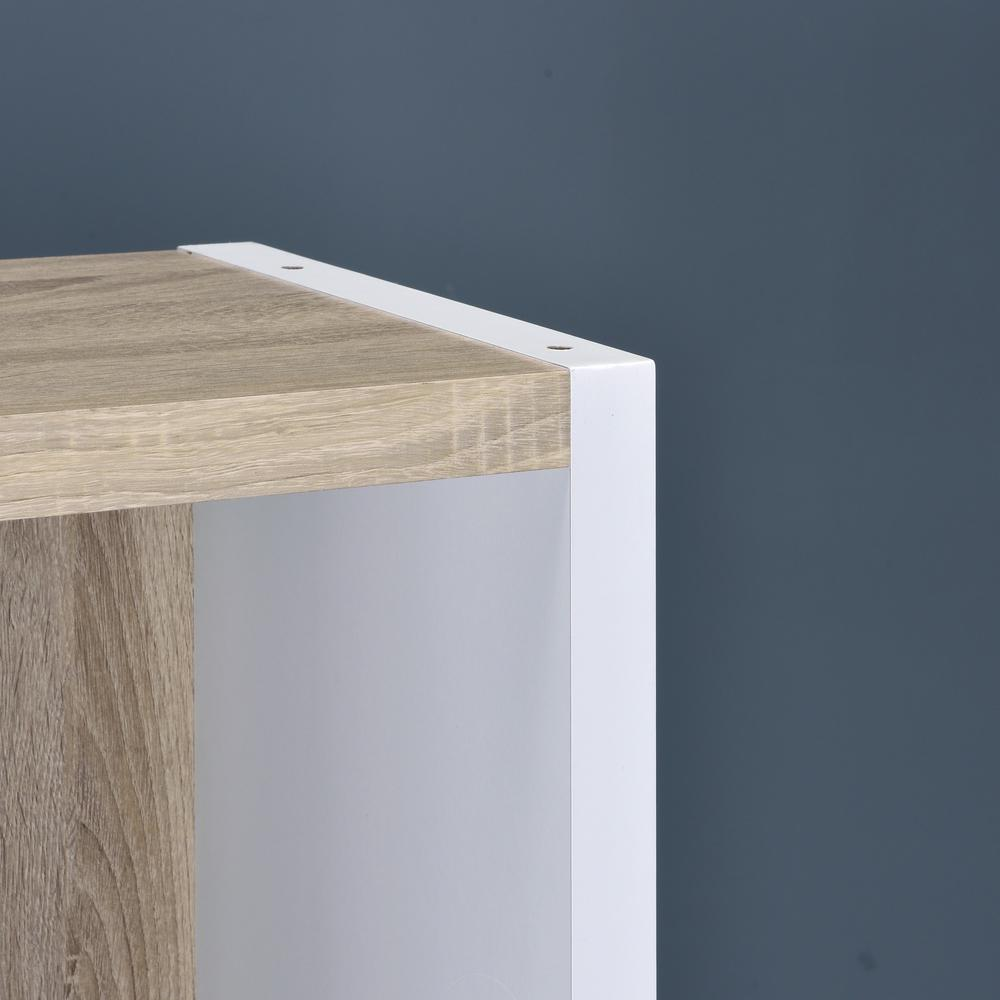 Versatile Two Shelf White and Natural Cubby Bookshelf - 384453. Picture 1