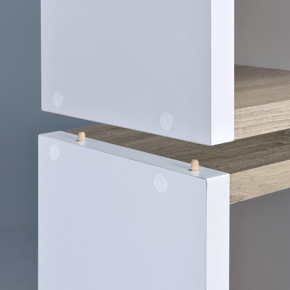 Versatile Two Shelf White and Natural Cubby Bookshelf - 384453. Picture 2