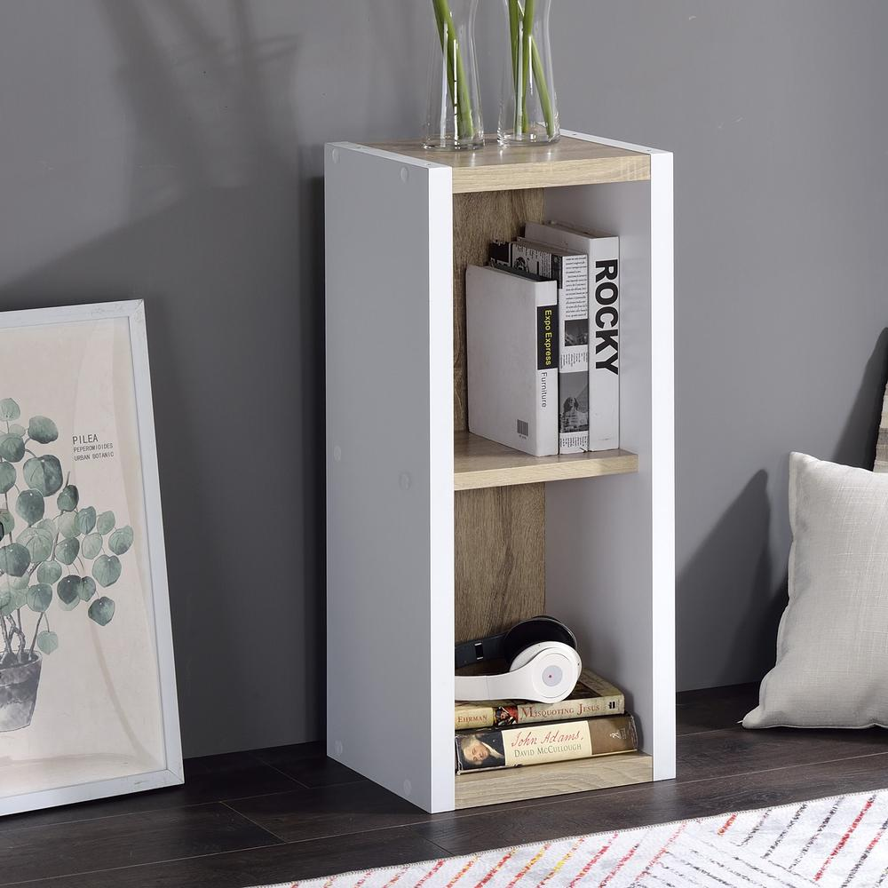 Versatile Two Shelf White and Natural Cubby Bookshelf - 384453. Picture 5