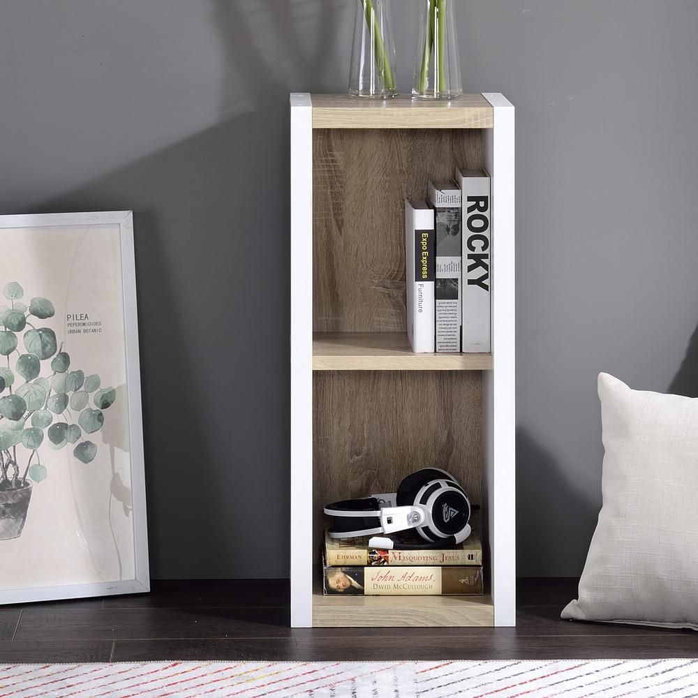 Versatile Two Shelf White and Natural Cubby Bookshelf - 384453. Picture 6