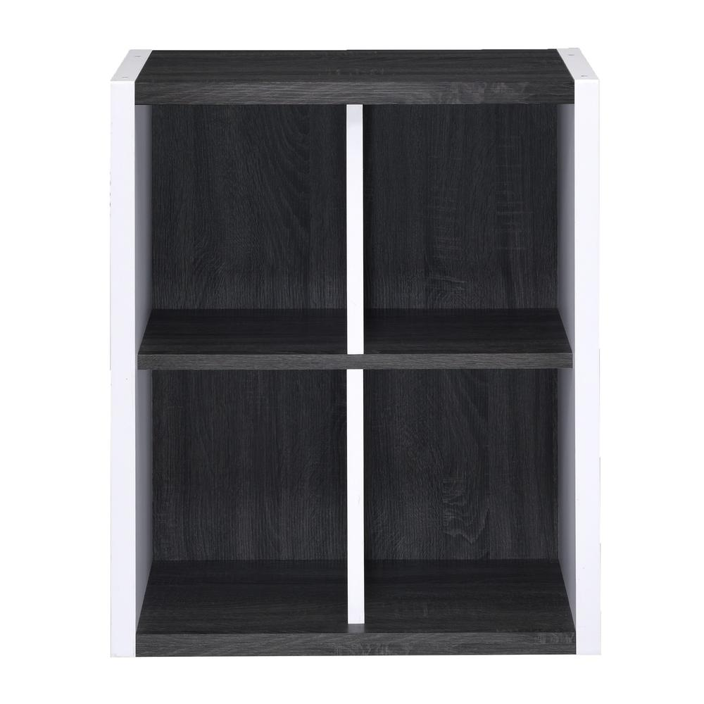 Versatile Four Shelf White and Gray Cubby Bookshelf - 384457. Picture 2