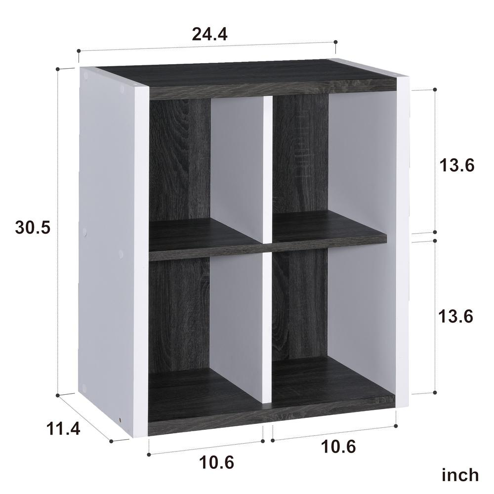 Versatile Four Shelf White and Gray Cubby Bookshelf - 384457. Picture 3